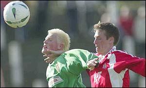 Glentoran striker Andy Smith (left) was in a rich vein of form
