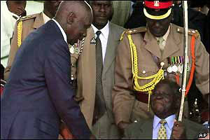 Moi (left) and Kibaki (right)