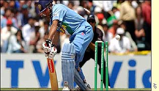 Virender Sehwag is bowled in Auckland