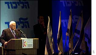 Ariel Sharon at Likud Party meeting