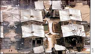 Damaged accommodation blocks at Woomera