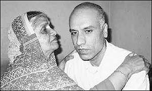 Ayub Ali Khan (R) with his mother back in Hyderabad
