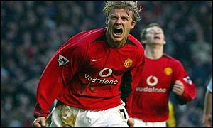 David Beckham celebrates his Old Trafford equaliser