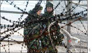 South Korean soldiers patrol near the border with the North