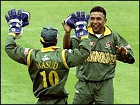 Khaled Mahmud and Khaled Mashud at the landmark World Cup win over Pakistan