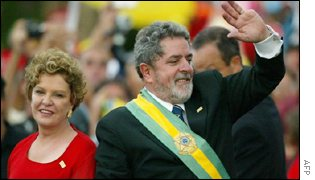 Brazilian President Luiz Inacio Lula da Silva with wife Marisa on 1 Jan 2003.
