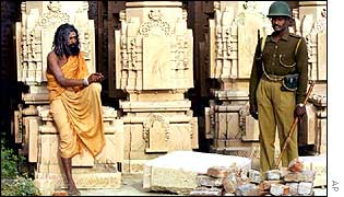 A Hindu holy man and paramilitary soldier in Ayodhya