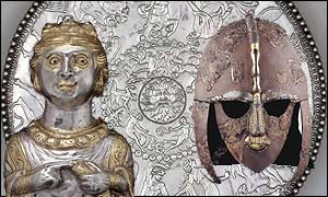 The Hoxne pepper pot, the Sutton Hoo helmet and the Great Dish. Copywright: The British Museum