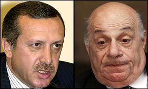 Recep Tayyip Erdogan (l) and Rauf Denktash (both AP photos)