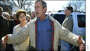 US President George W Bush at his ranch in Texas