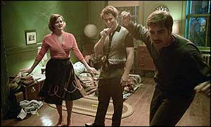 Drew Barrymore, Sam Rockwell and George Clooney in Confessions of a Dangerous Mind
