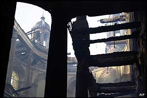 View of the chapel from gutted south wing
