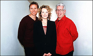 (L to r:) Roger Black, Kate Humble and Adam Hart-Davis