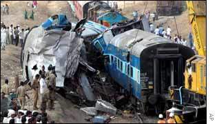 Scene of Friday's train crash at Ghatnandur station