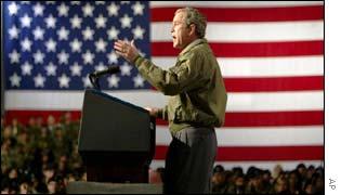 President Bush speaks to troops