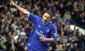 Mario Stanic celebrates his first-half goal for Chelsea