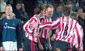 Southampton celebrate Michael Svensson's goal