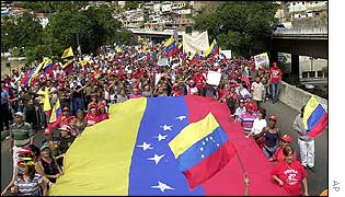 Supporters of President Chavez hold rally in Caracas