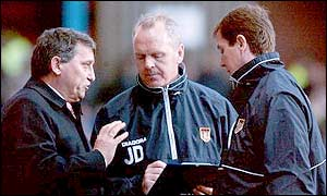 Villa boss Graham Taylor and assistants John Deehan and Stuart Gray