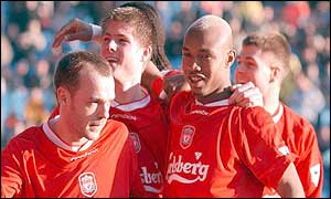 Danny Murphy leads the Liverpool celebrations