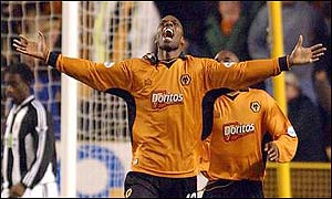Wolves matchwinner George Ndah celebrates his goal
