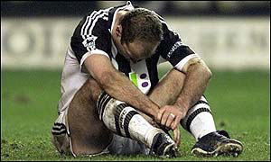 Newcastle Alan Shearer takes a breather as the Magpies are knocked out of the FA Cup by Wolves