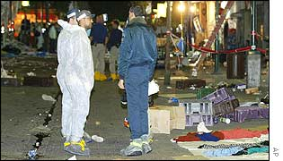 Israeli investigators at the scene of the double bombing