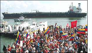 Venezuelan striking oil workers