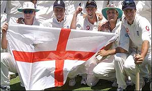 England celebrate victory in the final Test