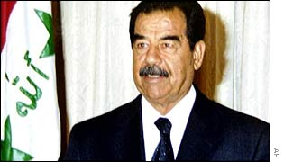 Iraqi President Saddam Hussein making a televised speech on July 17, 2002