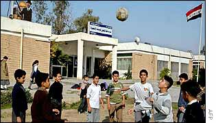 Iraqi children playing football