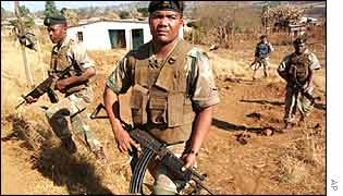 South African army patrol in KwaZulu Natal