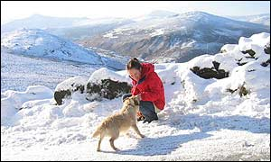 Playing in the snow in the Wicklow Mountains, Ireland