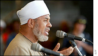 Sheik Taj El Din Al Hilaly, addressing thousands of anti-war demonstrators in Sydney, protesting against Australian involvement in a US-led military attack on Iraq, November 2002