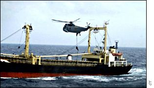 Spanish forces boarding the North Korean ship Sosan
