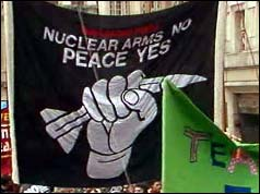 One of the many banners at the CND rally