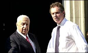 Ariel Sharon and Tony Blair meeting in Downing Street last year