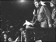 Photo of Fidel Castro addresses the crowd after his inauguaration
