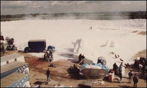A winter scene being made with artificial snow made by Excel