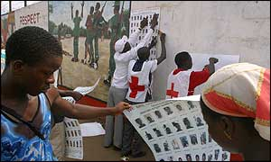 Posters being put up (Pic: ICRC)