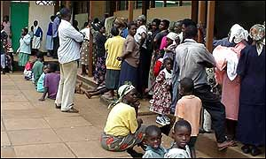 Queues at Olympic school in Kenya
