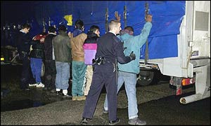 Police search asylum seekers found on a lorry bound for Dover