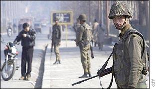 Indian border guards on the streets of Srinagar, Kashmir
