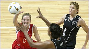 Olivia fights for the ball against New Zealand