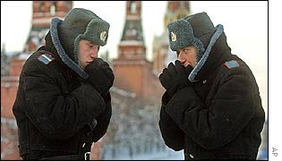Two policemen in Red Square brave the cold