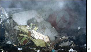 Wreckage of crashed RJ-100 plane