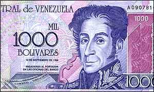 1,000 bolivar note