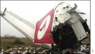 Remains of the Turkish Airlines plane at the crash site in the south eastern Turkish city of Diyarbakir