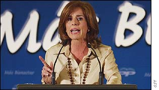 Ana Botella addresses a party meeting in Madrid