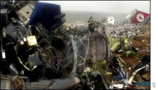 Remains of the crashed Turkish Airlines passenger plane seen at the crash site in the southeastern Turkish city of Diyarbakir
